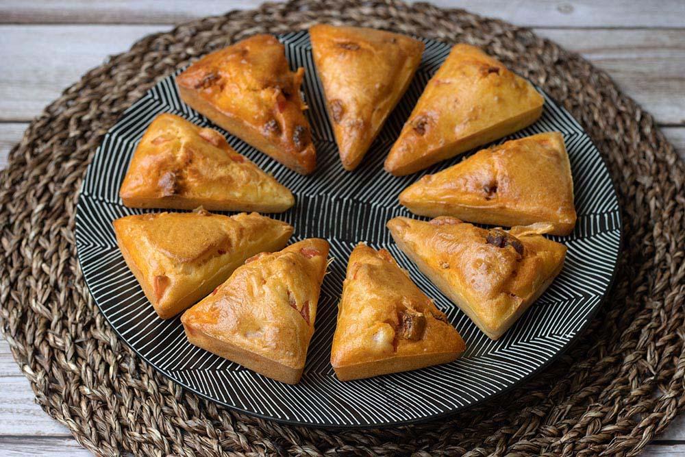 Petits cakes chorizo et poivron empreinte Triangles Demarle Flexipan 1