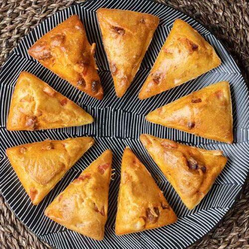 Petits cakes chorizo et poivron empreinte Triangles Demarle Flexipan