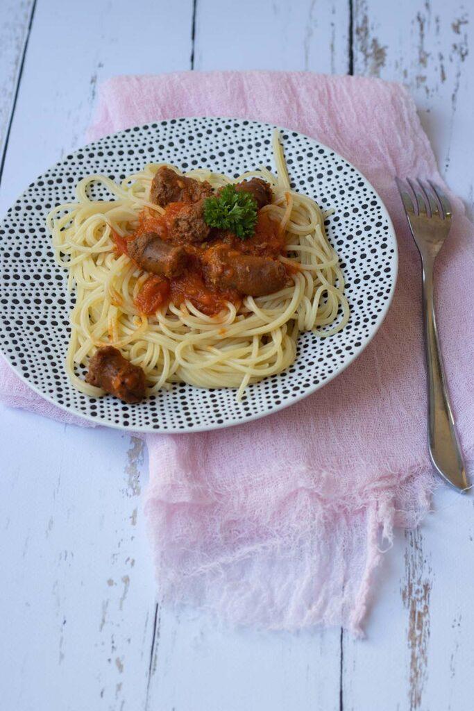 Spaghettis aux merguez et tomates séchées 1